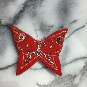 Vintage Christmas Beaded Butterfly Ornament